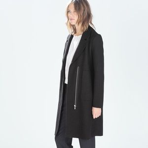 NWT Zara Trafaluc long black wool coat lapels zip